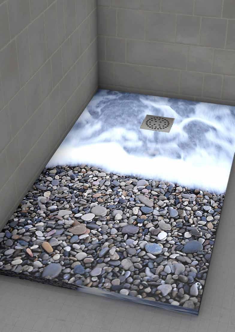 Alfombra con piedras de ro platos de ducha t for Duchas rusticas piedra